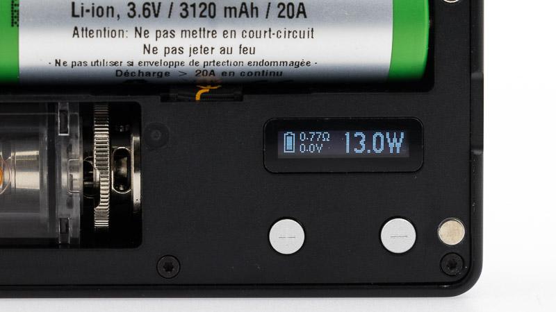 écran de réglage de la mulus réglé sur 13 watts