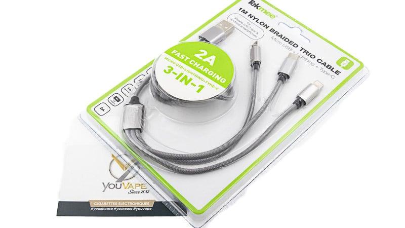 Câble chargeur 2A - 3 en 1 de Tekmee - Youvape