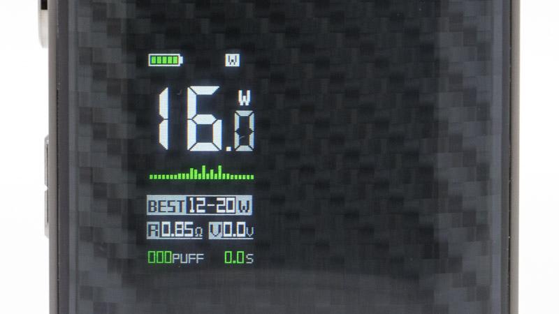 Le Watt est le mode traditionnel, le plus employé par les vapoteurs. L'écran affiche les mêmes informations, et propose la même plage de réglage optimal selon la résistance, cette fois en watts.