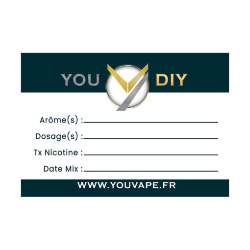 Étiquettes Diy vierges YouVape. Elles vous permettent de notervosinformations de préparation sur vos bouteilles de eliquidesou deconcentrés diy.
