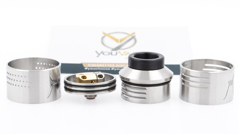 Le Purge X Rda 28.5mm est composé de manière traditionnelle, avec 4 pièces principales :