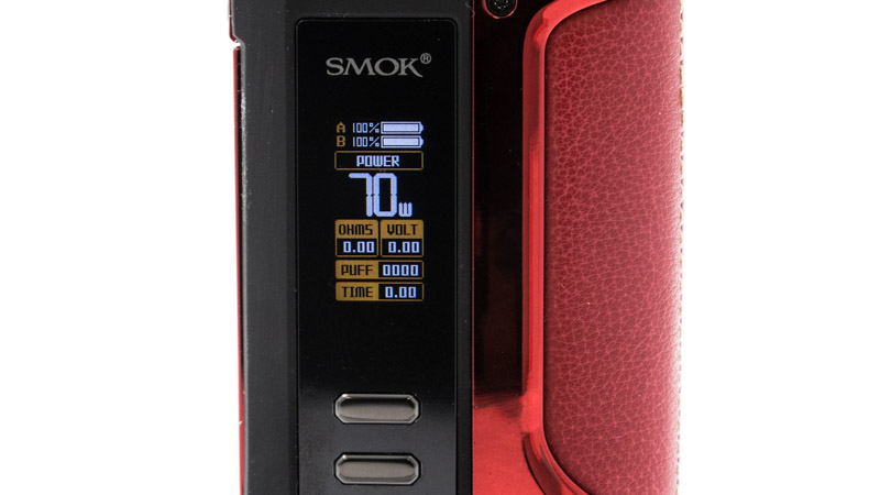 Smok équipe sa box d'un chipset simple et dynamique. Il offre deux modes de fonctionnement : le contrôle de la puissance et de la température. Son usage est évident, et toutes les fonctions sont accessibles directement : pas de sous menus et de fonctions complexes.