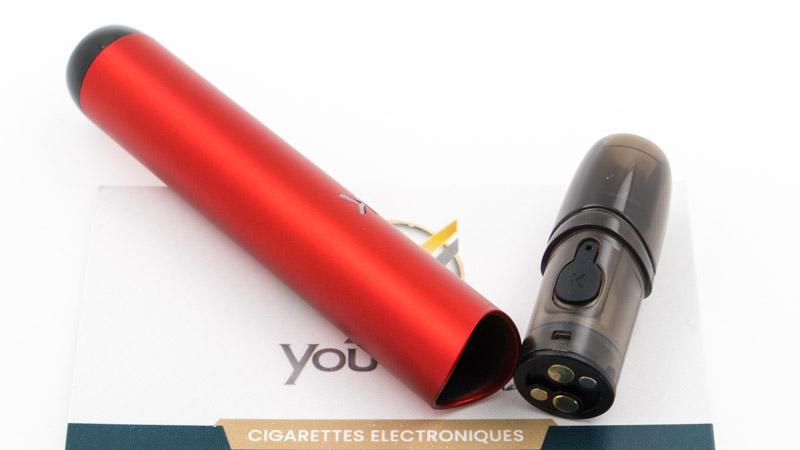 Comme tous les pods, il est composé de deux éléments : Une batterie de 400mAh heure Une cartouche interchangeable