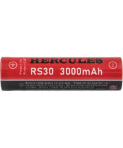 Accu RS30 Hercules au format 18650de Fumytech, quioffre une capacitéde 3000mAh et un courant de décharge maximum de 20A en continu.