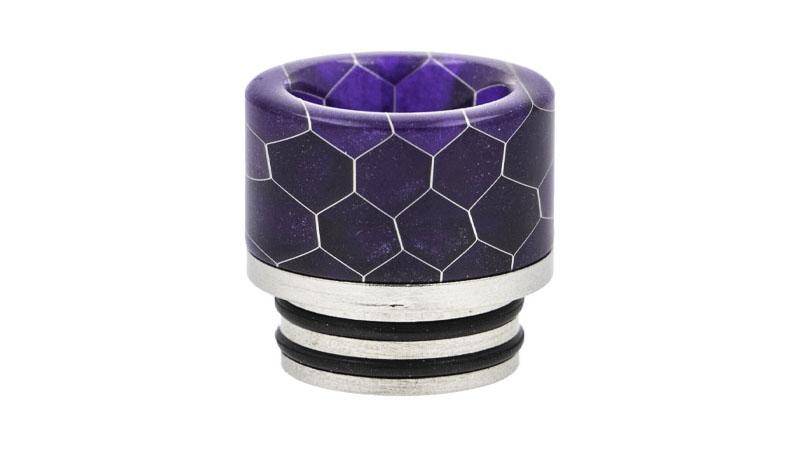 Drip Tips 810 avec joints, en Acier et Résine nid d'abeille, disponibles en 8 couleurs : blanc, noir, vert, rouge, orange, bleu, violet, rouge et vert.