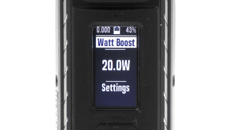 Par exemple, en changeant de preset, le suivant s'appelle Watt Boos. Comme son nom l'indique bien, il est basé sur le mode puissance, auquel est ajouté un boost (que vous pouvez paramétrer).
