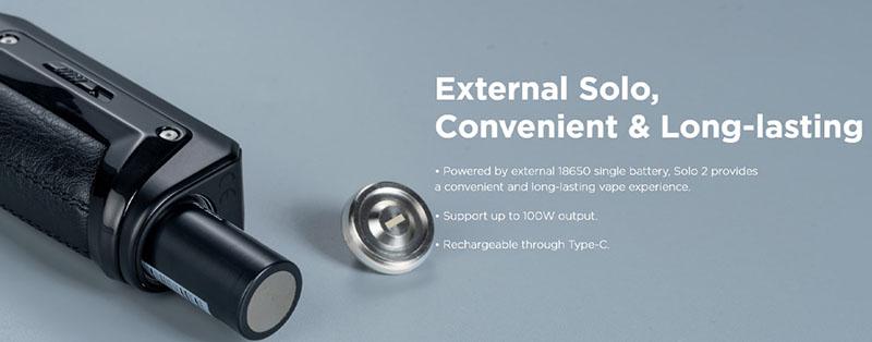 Le Kit Aegis S100 s'alimente avec 1 accu 18650 (non fourni dans le coffret). Son compartiment est fermé par un bouchon vissé, équipé d'un robuste joint de silicone, qui garantit son étanchéité.
