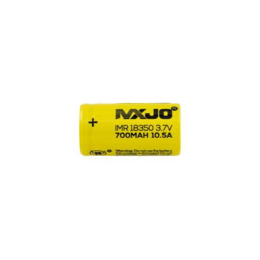Accu 18350 de la marque MXJO. Sa technologie Li-Ion IMR lui permet d'offrir une capacité de 700et un courant de décharge maximum en pulse de 10,5A.